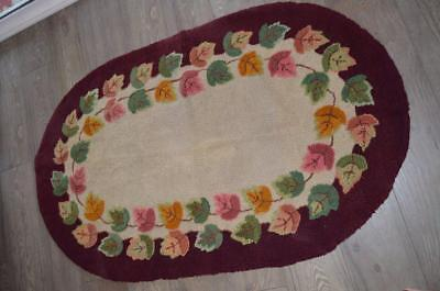 "Vintage Hand Hooked Wool Rug Oval 57"" X 36"" Multi-colored Leaves"