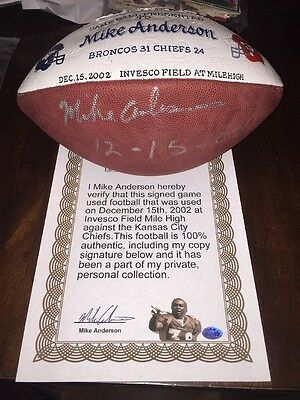 Mike Anderson Game Used Presentation Football Signed Auto Bronco Vs Chiefs 02
