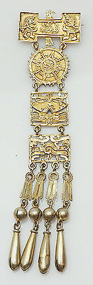 Inca style Gods vintage sterling silver pin or pendant w bells South America