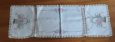 Vintage Hand Embroidered and Drawn Thread Table Runner Dresser Scarf