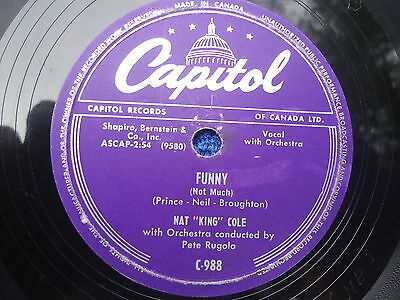 +NAT KING COLE 78 rpm CAPITOL WALKIN' MY BABY BACK HOME BILLY MAY FUNNY  RUGOLO