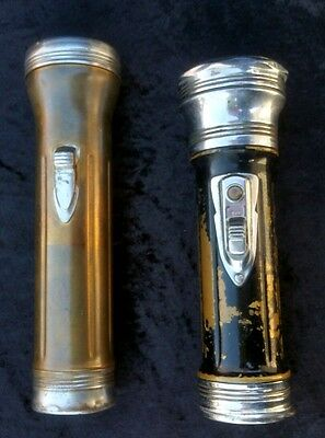 Vintage Winchester 2-D Cell Chrome / Brass Flashlights WORKING