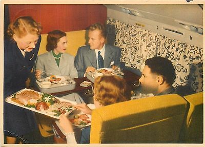 Meal Service aboard the DC-6 CLOUDMASTER ~SAS AIRLINE~ Scarce Old Postcard, 1950
