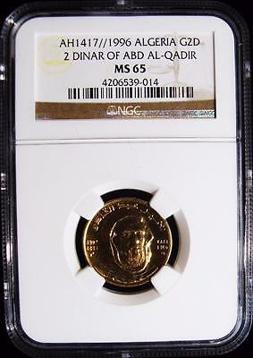 Algeria: Republic 1417(1996) Gold 2 Dinars. MS65 NGC. KM#133. Very rare!