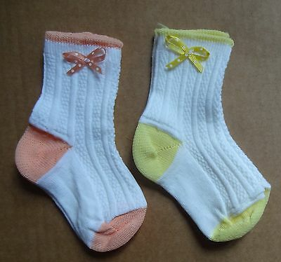 New Born Baby Girls Cotton Rich Rib and Ribbon Design luxury party socks ,6-12m