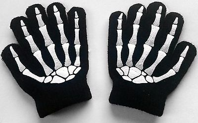 Knitted Acrylic Childrens SKELETON Gloves Halloween Costume Party Accessory NEW