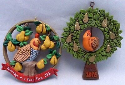 2 Hallmark Ornaments 1976 PARTRIDGE TWIRL-ABOUT, 1991 PARTRIDGE IN A PEAR TREE