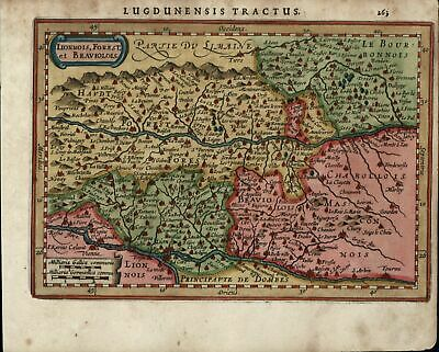Lyon Lionnois Forest France cities towns c.1628 Mercator minor old map