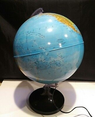 Vintage Rand McNally Light-up Lighted Globe 1982 Physical Political  Table Lamp