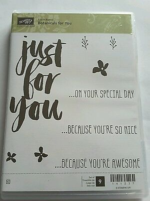 Stampin' Up *BOTANICALS FOR YOU* 9  pc Clear Mount Rubber Stamp Set.