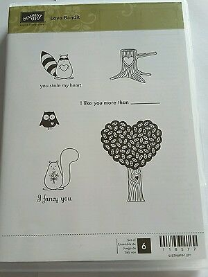 Stampin' Up *LOVE BANDIT* 6 pc Clear Mount Rubber Stamp Set. EUC.