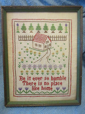 "Vintage Framed EMBROIDERY on Linen ""Be It So Humble There Is No Place Like Home"""