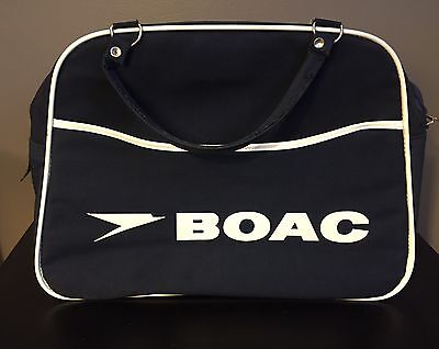 Vintage 1960s BOAC Canvas Carry On Travel Bag, British Airways