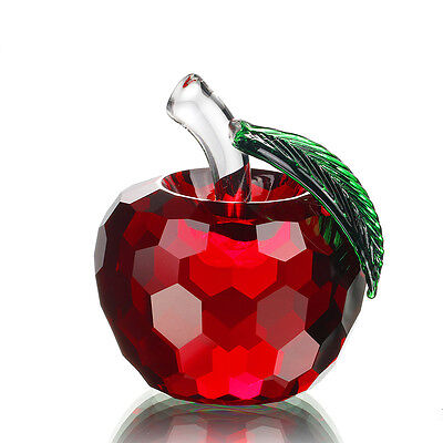 H&D Crystal Apple Paperweight, 60mm Art Glass Apple Collectible Figurines Red