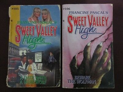 2x Sweet Valley High #105 A Date With A Werewolf + #106 Beware The Wolfman BOOKS
