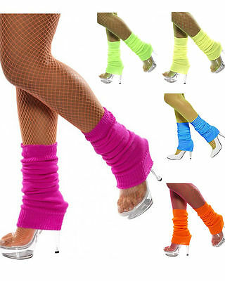 Legwarmers Neon Fluro Knitted Dance Party 1980s 80s Costume Leg Warmers