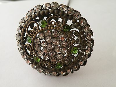 "Antique filigree Hatpin Rhinestones 10 3/4"" long"