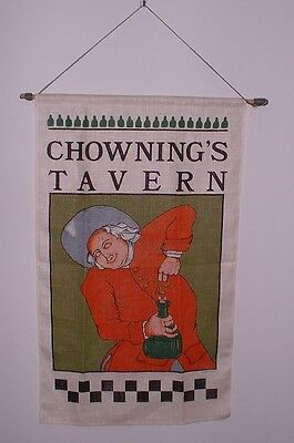 1988 Vintage Chownings Tavern Whiskey Liquor Distillery Burlap Cloth Banner