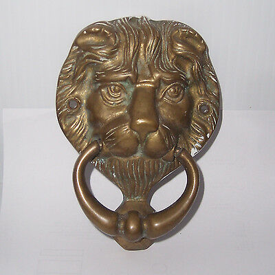 Vintage Brass Lions Head Door Knocker Architectural Salvage