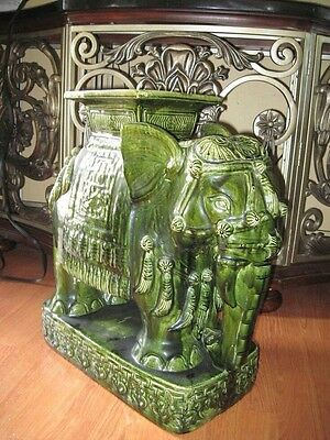 emerald green ceramic Asian elephant, vase holder, weighs a lot, shiny