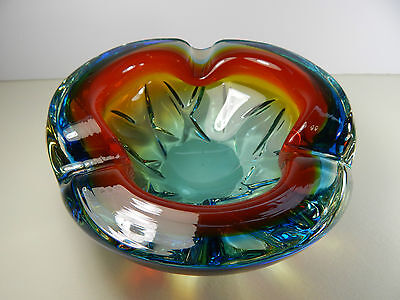 "Murano Geode Bowl Ashtray 7 1/2"" Wide. Sommerso. Vintage Art Glass."
