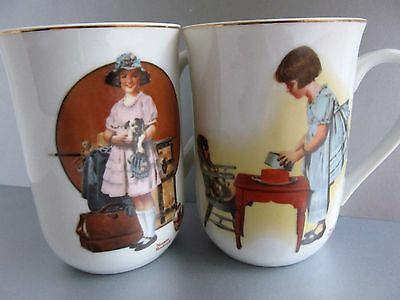 """Great Lot 2 Retro 1981 Norman Rockwell Mugs - """"vacation's Over"""" & """"party Time"""""""