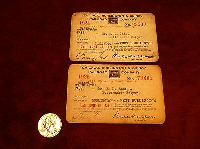 PAIR OF ANTIQUE 1924-1925 CHARGE CARDS--CHICAGO, BURLINGTON & QUINCY RAILROAD Co
