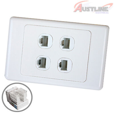 RJ45 Cat6 4Gang Network LAN Jack with4Port Wall Plate cw4C90