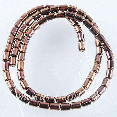 "Natural Ancient Copper Hematite Gemstone Column Beads Spacer 3x5mm 15.5"" MG1545"