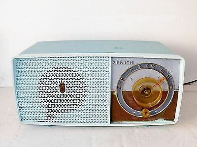 Vintage 1950's Zenith AM Tube Turquoise Radio Rare One See My Video Works