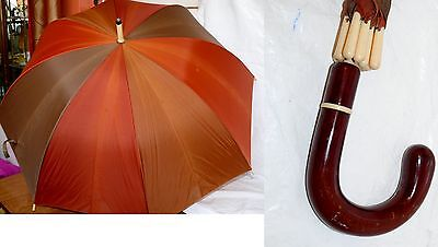 "Vintage Autumn Color Umbrella Mens Celluloid/Plastic Handle & Tips 50"" Opened"