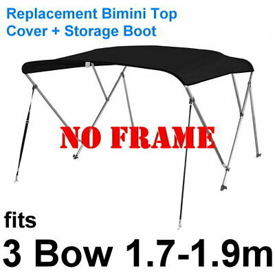 Replacement Cover + Storage Boot for 3 Bow 1.7-1.9 Black Bimini Top (no frame)