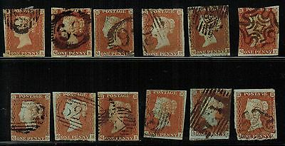 Great Britain #3, 1841 1d Imperf full row of 12 letters, QA-QL, VG (Sc $108 US)