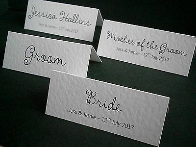1-100 Personalised Wedding Place Name Cards - White, Ivory