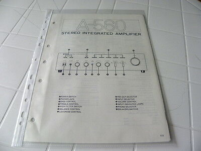 Yamaha Original Service Schematic A-560 Stereo Integrated Amplifier
