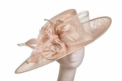 Beige Latte Nude Hat Fascinator Disc Ascot Wedding Mother of the Bride Occasion