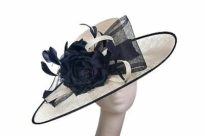 Ivory Navy Hat Fascinator Disc Ascot Wedding Mother of the Bride Occasion