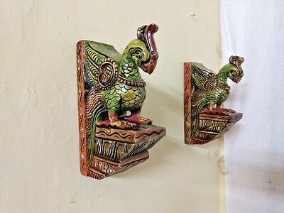 Cute Peacock Bracket Corbel Pair painted Parrot Bird Wooden Sculpture Statue