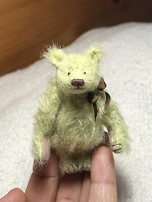 "Miniature Hand Sewn 2-3/4"" MINT GREEN Scruffy Mohair Teddy Bear by L. Wright"