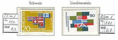 Europa CEPT C18 Switzerland Liechtenstein MNH 1967 1+1v Flags