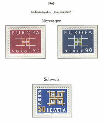 Europa CEPT B32 Norway Switzerland 1963 MNH 2+1v CV 3,80 eur