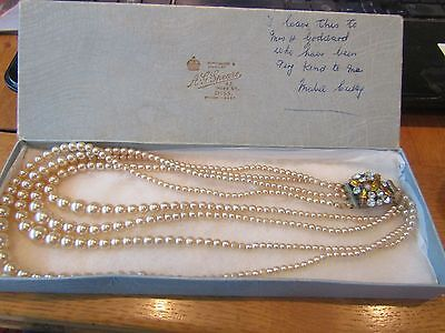 BEAUTIFUL 1950s (?) 4 STRAND FAUX PEARL NECKLACE WITH AMBER/CLEAR PASTE CLASP