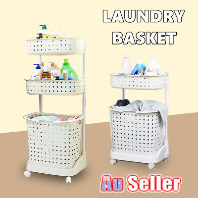 2/3 Tiers Clothes Laundry Basket Rack Washing Hamper Sorter Cart Storage Wheels
