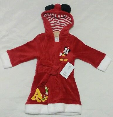 Disney Baby Mickey Mouse & Pluto Christmas Dressing Gown Bath Robe 12-18 Months