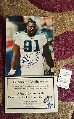 Rare Albert Haynesworth autographed  photo 10×8  with COA. Titans, NFL.