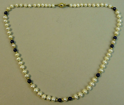 Beautiful 18K Gold Lapis & Cultured Pearl Necklace