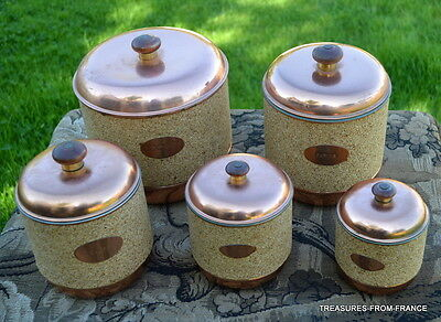 French vintage copper clad and metal cork canisters