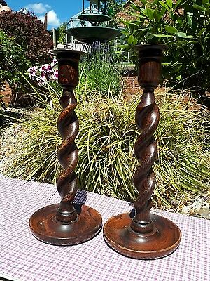 "Antique oak barley twist Candleticks 12""tall"