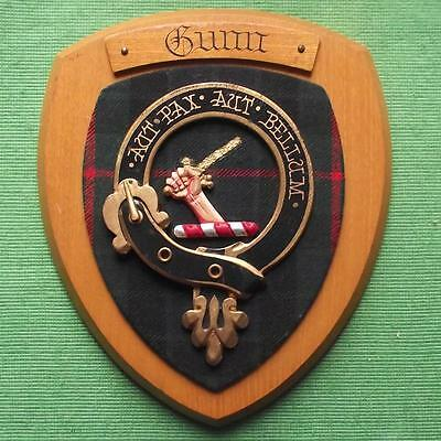 Vintage Scottish Clan Gunn Tartan Oak Plaque Crest Shield