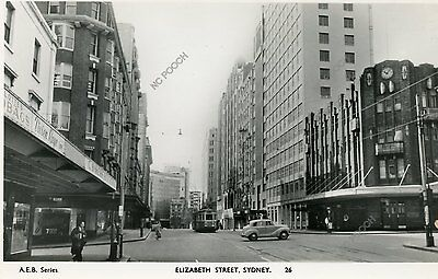 vintage postcard real photo Elizabeth Street Sydney Australia tram old car shops